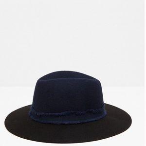 Zara Felt Fedora Wool Hat Navy & Black
